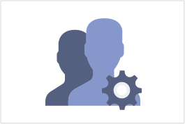 Silhouette of two individuals and a gear icon